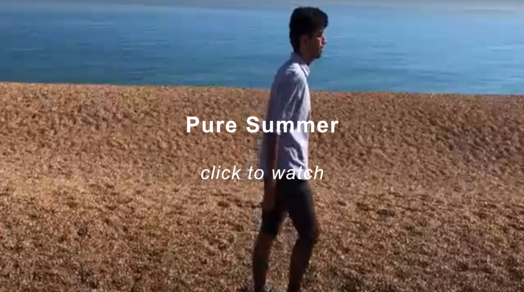 A man (Nikhil, the artist) in shorts and a shirt, walking on a stoney beach. Behind his figure a horizon line, with a blue sky taking up the top third of the image. Click the image to play the slide show.