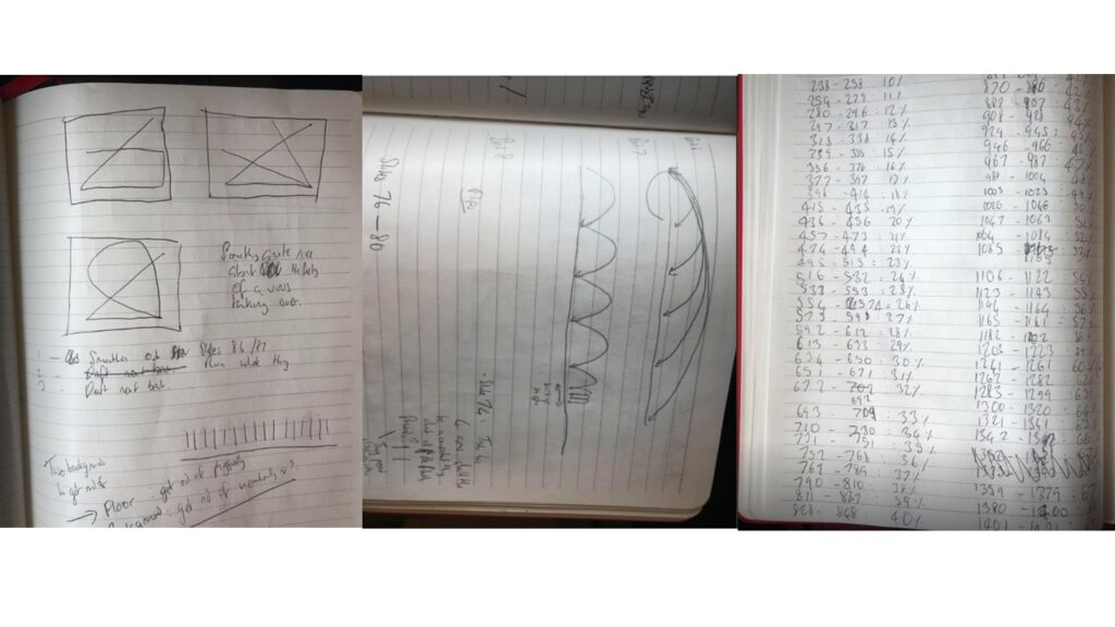 Collage image of the artist's notebook in three parts, showing drawings and scribbled notes.