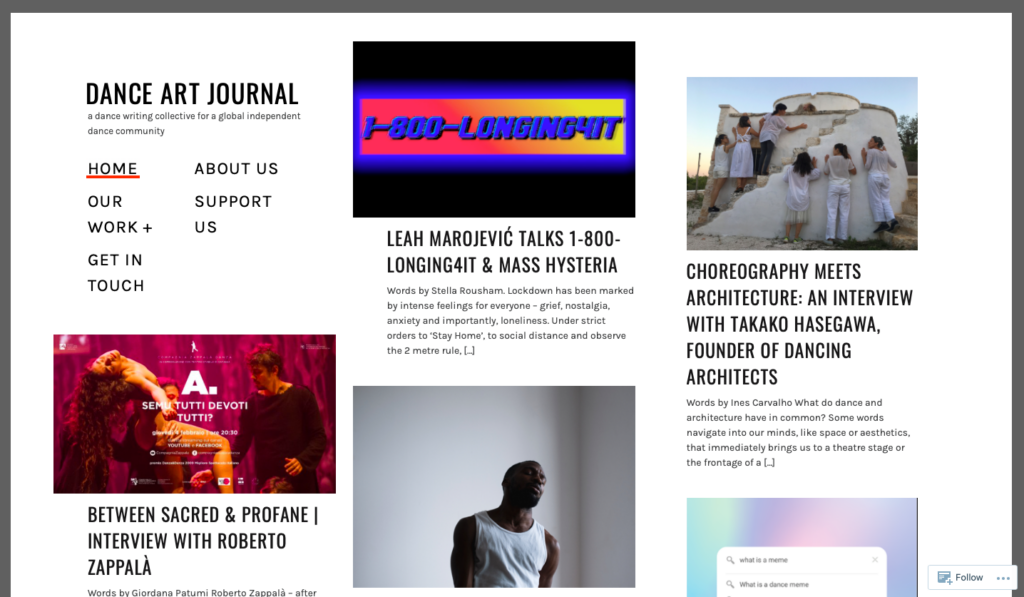 screenshot of the DAJ website's homepage which features a selection of our latest writings. Our menu is on the left-hand side.