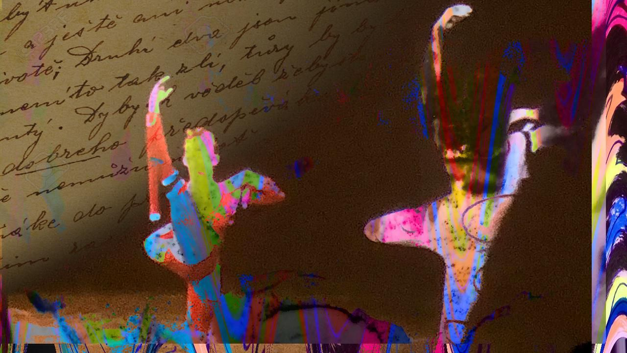 Hand written text overlaid by the multi-coloured silhouette of two dancers.