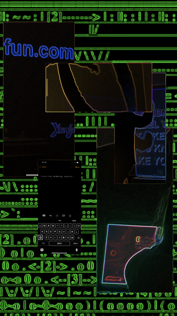 A collage of compute code and links on a black background.