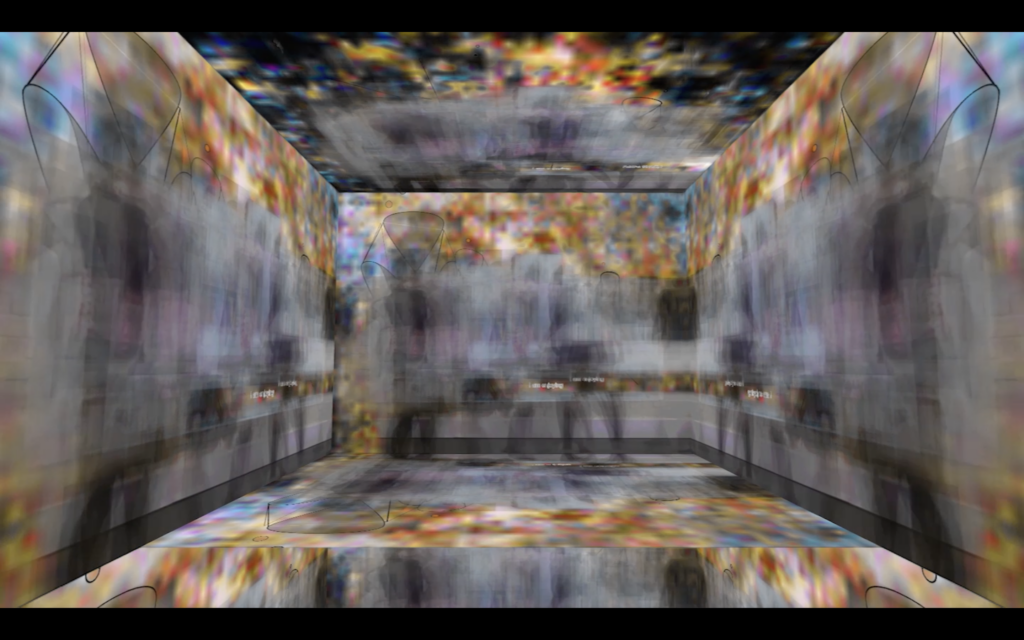 A computer generated landscape of the inside of a 3D box. The walls ans floor is a blurry pixelated pattern. It is a screenshot taken from the project: last night my dream tapped yours.