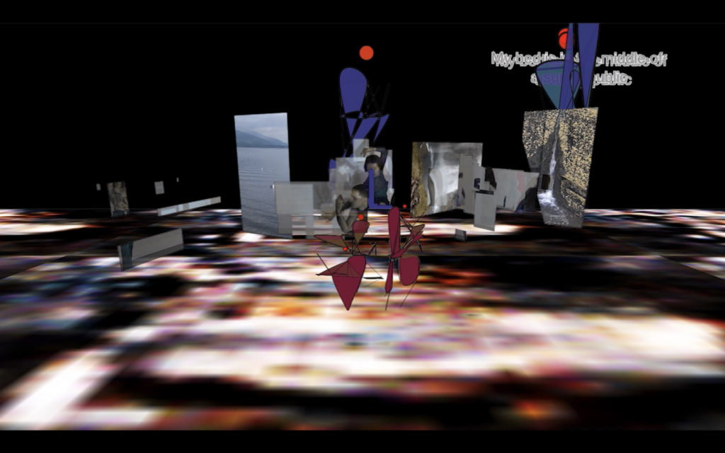 A series of computer generated objects in a dark computer generated landscape. The floor is a blurry pixelated pattern. Throughout the landscape are pictures floating in the space: seaside landscape, waterfalls. It is a screenshot taken from the project: last night my dream tapped yours.